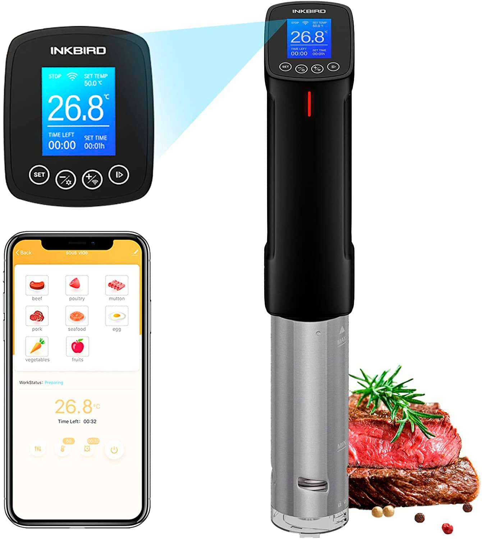 Inkbird ISV-100W Wi-Fi Sous Vide Aparato de Cocina Precisión Circulador de Inmersión Termal con Pantalla LCD Legible, 1000W Temporizador Ajuste de Temperatura, Máquina de Cocción al Vacío